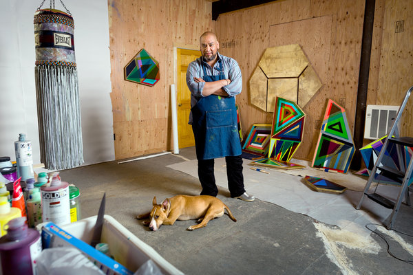 Peter MauneyJeffrey Gibson in his studio in Hudson, N.Y., with his dog, Stein-Olaf.