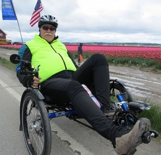 submitted photoKit Wennersten, of Marysville, takes a practice ride in Skagit Valley before embarking today on a cross-country trip to raise money to help veterans.
