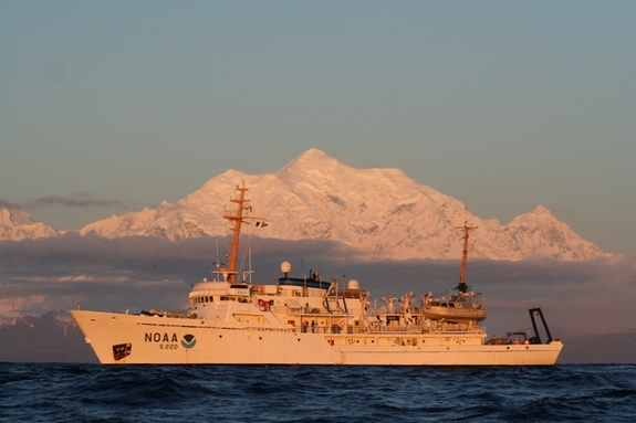 NOAA Ship Fairweather in the Gulf of Alaska with namesake Mt. Fairweather.Credit: NOAA