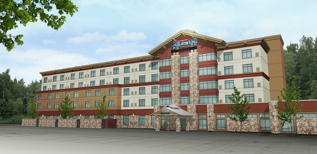 An artist's rendering of what the new hotel at the Angel of the Winds Casino will look like, once it's complete in 2015.— image credit: Courtesy image.