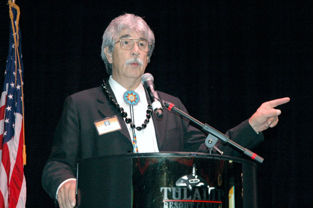 Tulalip Tribal Board Chair Mel Sheldon Jr. thanks the surrounding community for supporting the Tribes' efforts to support organizations that support the surrounding community in turn.— image credit: Kirk Boxleitner