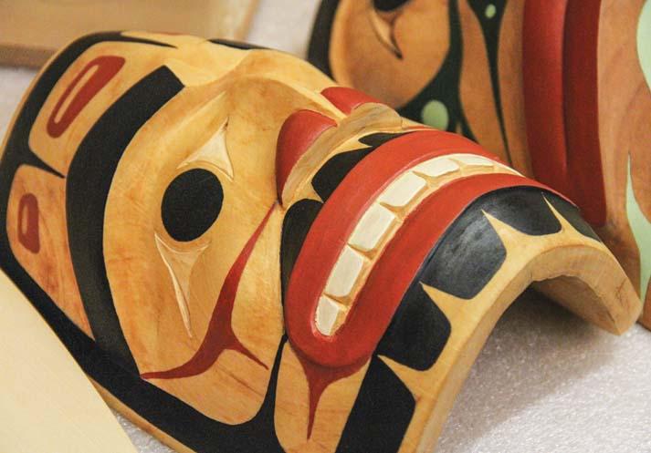 Cedar mask by Tulalip tribal artist Mike Gobin.Photo/Brandi N. Montreuil