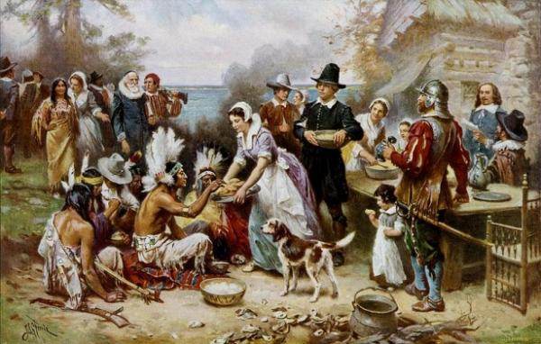 This is a popular image of the first Thanksgiving, a painting by Jean Leon Gerome Ferris. But this is definitely NOT what happened.