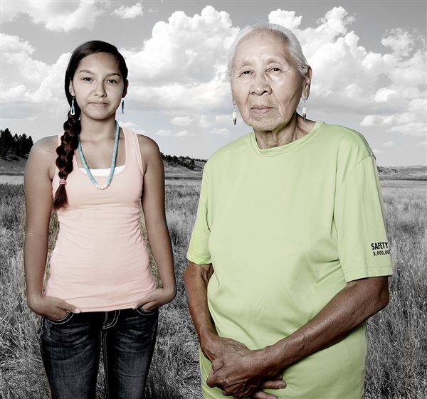 Courtesy Matika WilburJenni Parker, right, and granddaughter Sharlyse Parker of the Northern Cheyenne tribe pose in Lame Deer, Mont., in August.