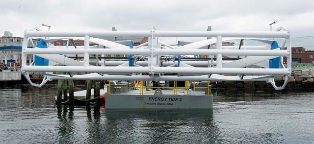 In this June 13, 2011 file photo, the Energy Tide 2, the largest tidal energy turbine ever deployed in the U.S., appears on a barge in Portland, Maine. Scientists at the University of Washington have determined that Admiralty Inlet, in Puget Sound, is an excellent place to test tidal turbines. (AP Photo/File)