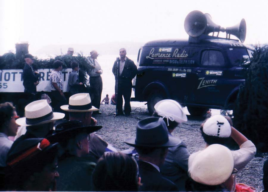 This photo was taken in Mukilteo during the 1955 celebration of the 100th anniversay of the signing of the Point Elliott Treaty by Tulalip Church of God Pastor B. Adam Williams.