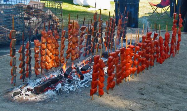 Tulalip Casino & ResortSalmon On a Stick is a traditional preparation method for slow-roasting salmon on iron wood sticks over wood coals. The method is at least several centuries old and is part of a rich tribal heritage for the Pacific Northwest's Coast Salish peoples.