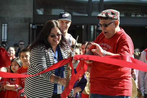 The ribbon was cut on April 7, 2014,  by Tulalip Tribes General Manager Sheryl Fryberg and former Tulalip Board member Don Hatch Jr., which the center is named after, to mark the official opening of the new center that will provide youth, 13-17 years old, a positive environment to hang out in. Photo/ Brandi N. Montreuil, Tulalip News