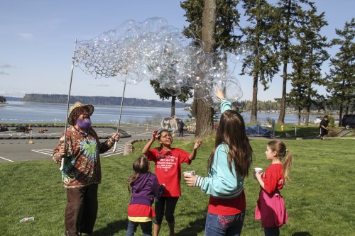 The Don Hatch Youth Center ribbon cutting ceremony, held on April 7, 2014, included a packed day of fun activities for Tulalip youth, including a visit from the Bubble Man, Garry Golightly. Photo/ Brandi N. Montreuil, Tulalip News