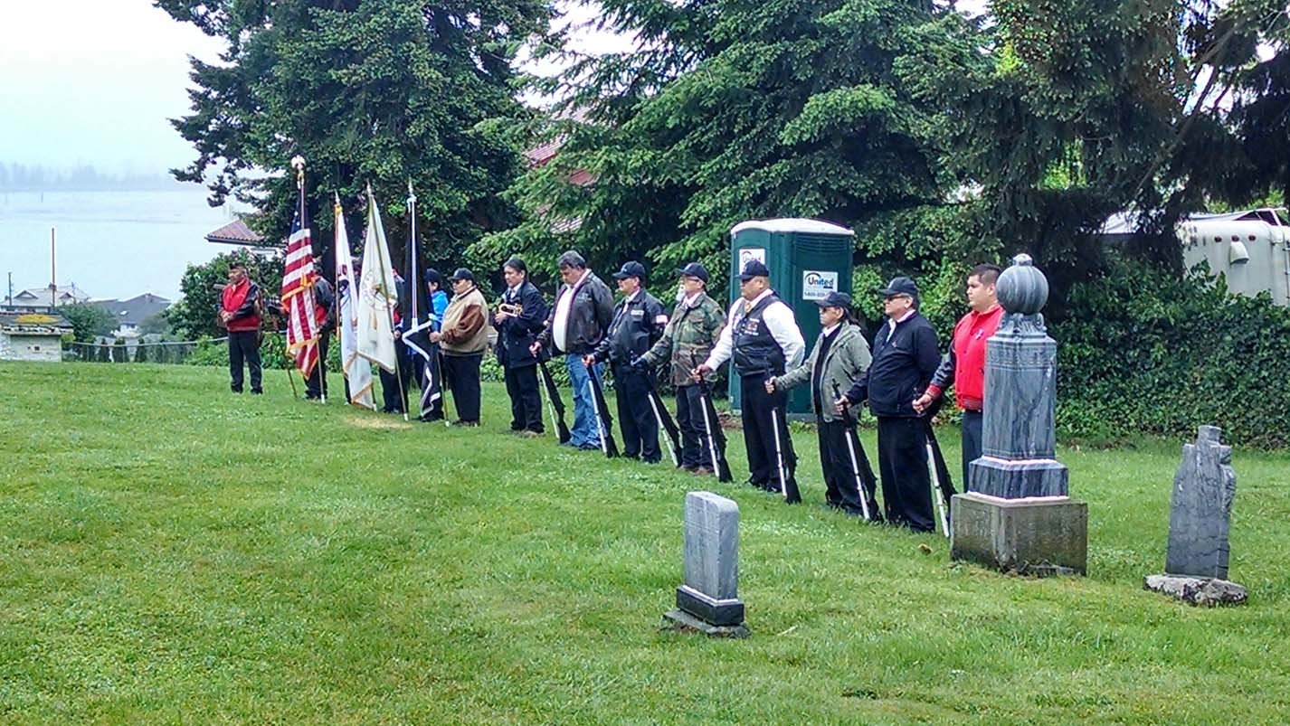 Tulalip Honor Guard at Priest Point Cemetery.