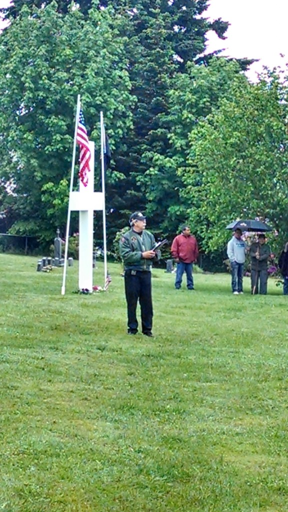 Tulalip Vietnam veteran and Memorial Day master of ceremonies, Mel Sheldon Jr. At times throughout each service, Sheldon spoke of his time as an Army Helicopter Pilot, remembering many peers that never made it home. Photo: Andrew Gobin/Tulalip News
