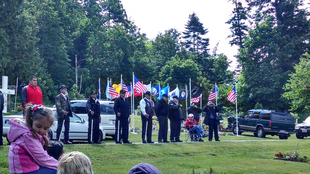 "Tulalip Honor guard.Seated at the end of the line is World War II veteran Charlie ""Red"" Sheldon. Photo: Andrew Gobin/Tulalip News"