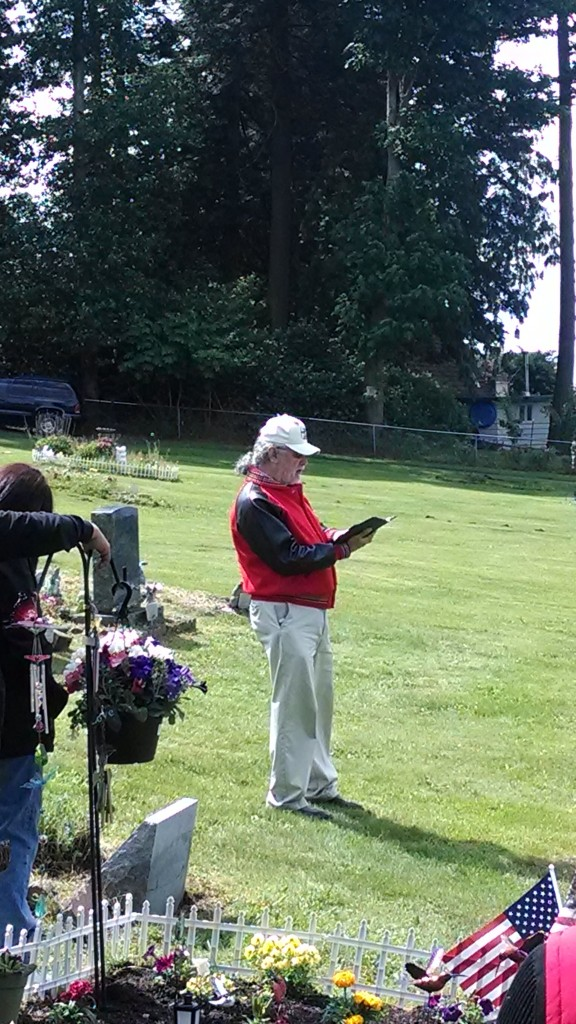 Cy Hatch Jr. calls the roll at Mission Beach Cemetery. Photo: Andrew Gobin/Tulalip News