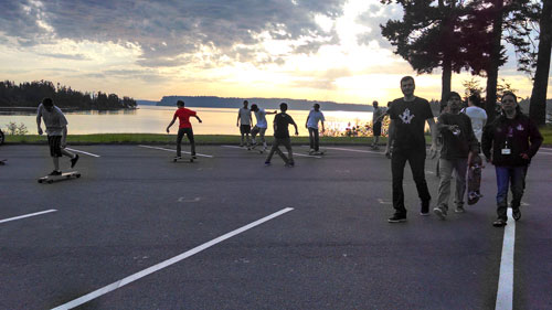 Tulalip skateboarders show off their skills in possibly location for new Tulalip Skatepark during meeting held on May 15, with Seattle's Grindline. Photo/ Brandi n. Montreuil, Tulalip News