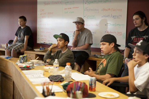 Tulalip skateboarders listen to budget concerns in a meeting held on May 15, about the newly approved Tulalip Skatepark. Photo courtesy / Ty Juvinel