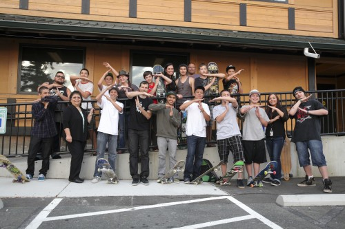 Tulalip skateboarders gather after a meeting held on May 15, with Seattle's Grindline lead designer Micah Shapiro, on design ideas for new Tulalip skatepark. Photo/ Brandi N. Montreuil, Tulalip News