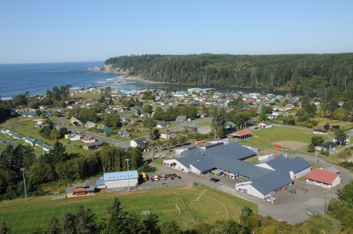 Aerial view of Taholah's Lower Village.Photo courtesy of Larry Workman
