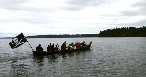 The canoe from Suquamish embarks on this year's journey to Bella Bella.— image credit: Richard D. Oxley / North Kitsap Herald