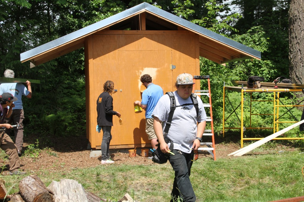 Team of students from TCTC just finishing the new smokehouse at the Hibulb Cultural Center. Photo: Andrew Gobin/Tulalip News