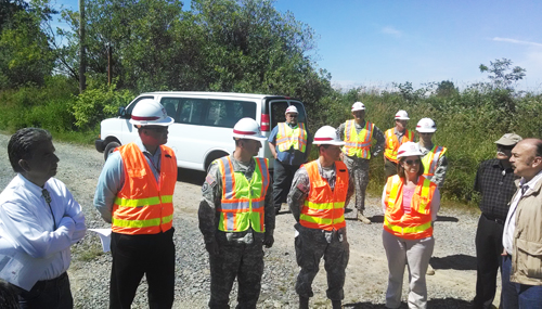 Members of the Army Corp of Engineers, Seattle division, meet with Tulalip Tribal members to tour the Qwuloolt Estuary. Photo/Andrew Gobin