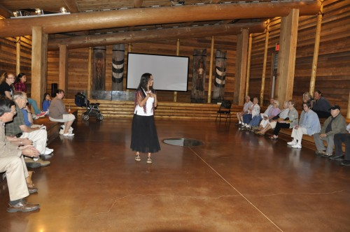 "Lois Landgrebe tells the story of ""Beaver and the Field Mouse,"" to a large crowd in the Hibulb Cultural Center longhousePhoto/ Brandi N. Montreuil, Tulalip News"