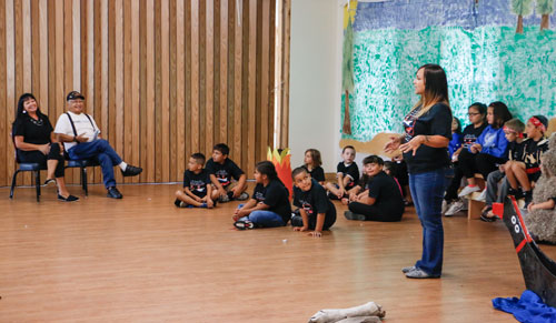 """Youth at the 19th Annual Tulalip Lushootseed Language Camp's week one group debut their play """"The Seal Hunting Brothers,"""" at the Tulalip Kenny Moses Building on July 25. Photo/ Brandi N. Montreuil, Tulalip News"""