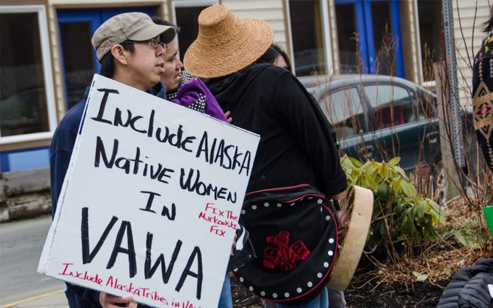 Ishmael Hope, left, and other Alaska Native representatives at the 2013 Choose Respect rally in Juneau, Alaska, asking legislators to address issues with the Violence Against Women Act.Heather Bryant/KTOO Public Media