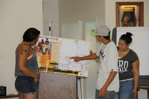 Adiya Jones, Ethan Horne, and Mikaylee Pablo present their design concept to their peers.Andrew Gobin/Tulalip News