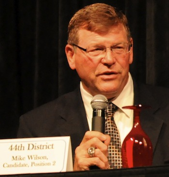 Democrat Mike Wilson, candidate for the 44th District Representative race, addresses the crowds at the Greater Marysville Tulalip Chamber of Commerce candidate forum Sept. 26.— image credit: Brandon Adam