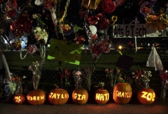 Genna Martin / The Herald  Pumpkins with the names of the victims and shooter of the Marysville Pilchuck High School shooting carved into them sit along the south fence of the school, which has become a growing memorial. The shooter, Jaylen Freyberg, and victims Zoe Galasso and Gia Soriano have died. Andrew Freyberg and Shaylee Chuckulnaskit are in critical condition and Nate Hatch is in satisfactory condition.