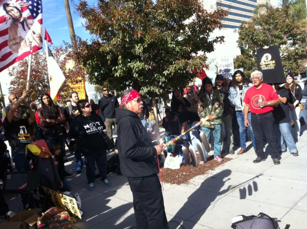 "Norman ""Wounded Knee"" O'Deocampo addresses the protesters."