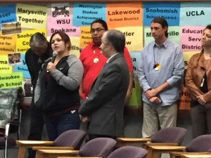 Tulalip member and MSD Native Liaison Eliza Davis speaks to Marysville School Board members, Monday, Dec. 8, 2014, on the importance of accurate tribal history in school curriculum. (Tulalip News/ Brandi N. Montreuil)
