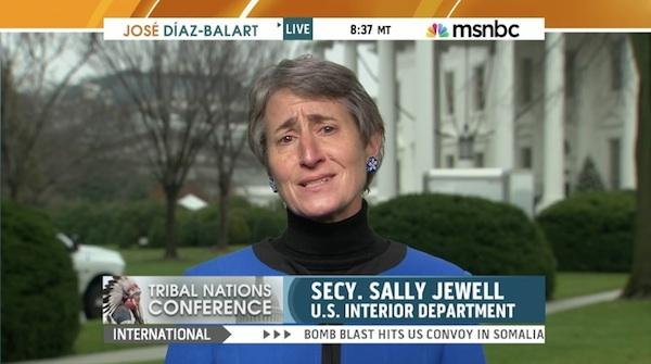 MSNBC screen shotU.S. Secretary of the Interior Sally Jewell tells MSNBC host José Díaz-Balart, 'They know their lands better than we do' when asked about the Keystone XL pipeline.
