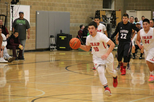 Heritage Hawk Ayrik Miranda takes the ball down the court, Friday, Jan. 9 , 2015, in game against Lummi Nation Blackhawks. (Tulalip News/ Michael Rios)