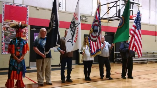 Retiring of the flags is performed by veterans during the, Sunday, March 29, 2015, Welcome Home Vietnam Veterans Celebration held at the Tulalip Boys & Girls Club. (Tulalip News Photo/ Brandi N. Montreuil)