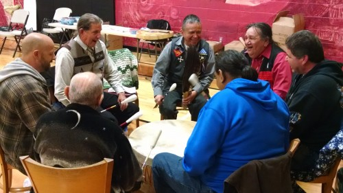 Veterans of the Tulalip community perform a song for veterans during the, Sunday, March 29, 2015, Welcome Home Vietnam Veterans Celebration held at the Tulalip Boys & Girls Club. (Tulalip News Photo/ Brandi N. Montreuil)