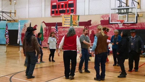 A friendship round dance is performed by attendees to the, Sunday, March 29, 2015, Welcome Home Vietnam Celebration held at the Tulalip Boys & Girls Club. (Tulalip News Photo/ Brandi N. Montreuil)
