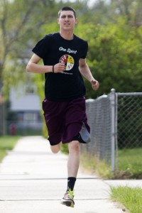 James Pine, 23, goes on a run Friday afternoon in his southwest Rapid City neighborhood. Pine has been awarded a $10,000 grant to start a youth fitness camp this summer called Lakota Forever Running and Fitness in each of the eight districts of the Pine Ridge Indian Reservation. (Josh Morgan, Journal staff)