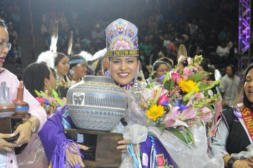 Cheyenne Brady, a member of the Sac and Fox tribe of North Dakota, was crowned Miss Indian World 2015 at the 32nd Gathering of Nations, held in Albuquerque this past weekend. (Photo Courtesy of Gathering of Nations)