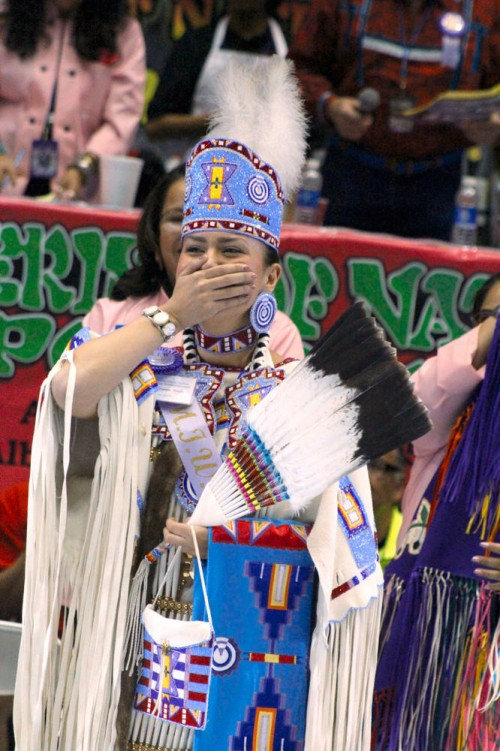 Cheyenne Brady, a 22-year-old senior at North Dakota State University, was crowned Miss Indian World at the Gathering of Nations powwow on April 25