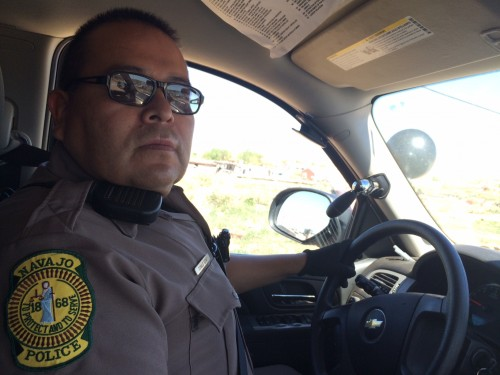 (Laurel Morales)Navajo Nation police officer Donald Seimy says making alcohol illegal on the reservation doesn't stop people from bootlegging and selling drugs.