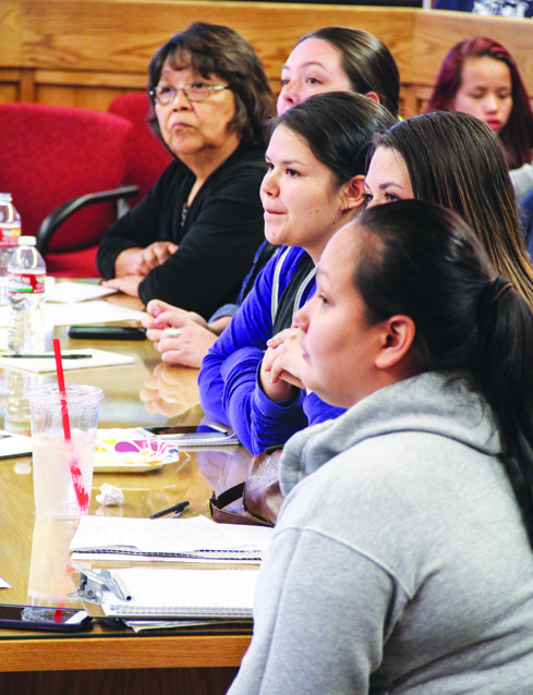 Mikaylee Pablo, the new Tulalip Youth Council female co-chair, listens as other candidates to the youth council discuss changes they would like to see happen in their community.Photo/Brandi N. Montreuil