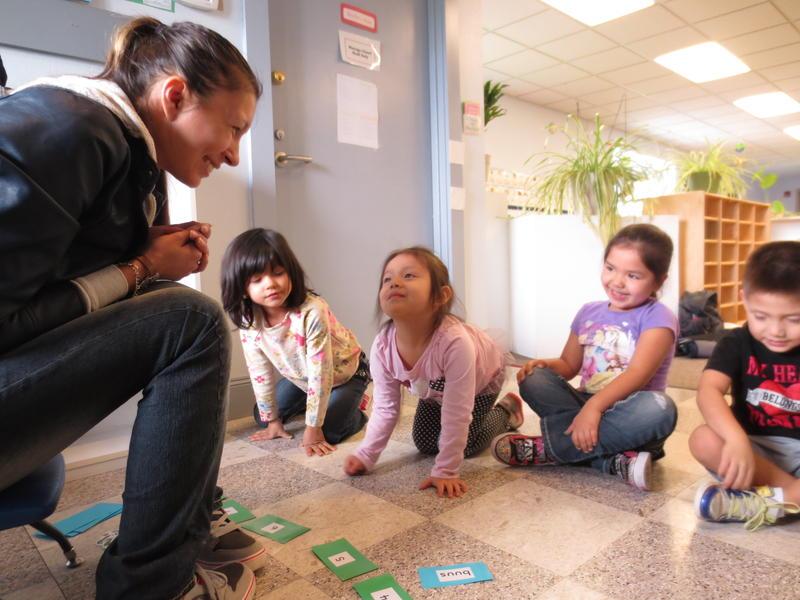 Maria Martin teaches Lushootseed to preschoolers at the Tulalip Montessori School.KUOW PHOTO/BEN GAULD