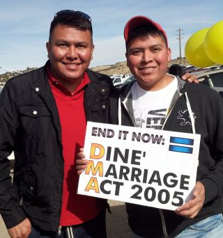 Photo by Jerry Archuleta courtesy of Alray NelsonAlray Nelson, left, and his partner, Brennen Yonnie, are leading the fight to get the Navajo Nation to recognize gay marriage.