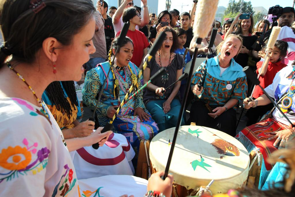 Native American drummers demonstrate at the steps of City Hall during a rally to take strong action on the climate change on February 17, 2013 in Los Angeles, California. David McNewGetty Images