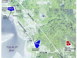 """There are three sites under consideration for the Gathering Hall location: The Administration Building –  Site A, """"Old Boom City"""" – Site B, and """"Autoshop"""" – Site C."""