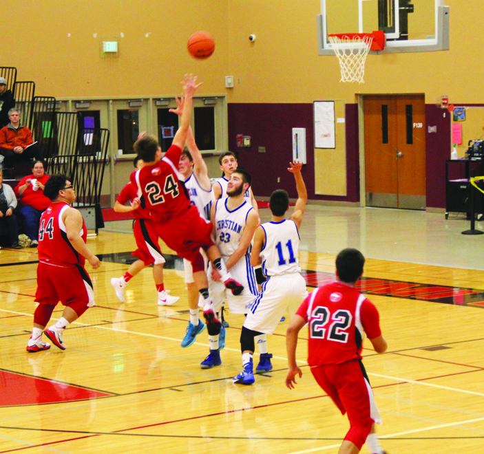 Tulalip Heritage Hawks vs. Mt. Vernon Christian Hurricanes in the second round game of the  District 1B boys basketball tournament.  Photo/Micheal Rios