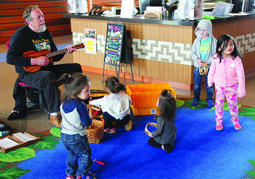 Alley-Oop and his sunshine band of toddlers. Photo/Micheal Rios, Tulalip News