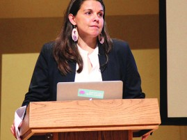 Dr Stephanie Fryberg spoke about building on the strengths of Native students at her lecture held in Kane Hall, on the UW campus.  Photo/Micheal Rios