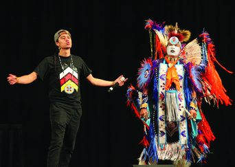 Native American Hip Hop Artist and Motivational Speaker Frank Waln performs wioth fellow activist and dancer, Micco.